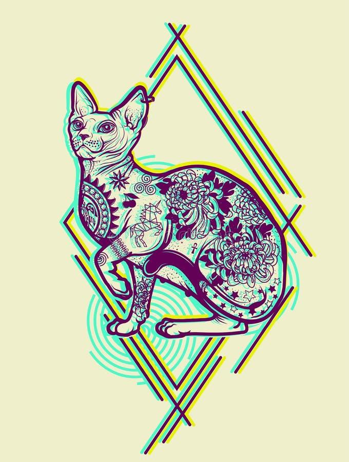 Vintage Cat Tattoo Design stock de ilustración