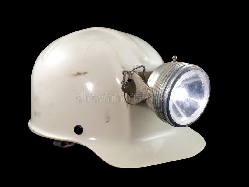 Vintage Caving Helmet. Vintage caving / mining hard hat from the 1970's royalty free stock photo