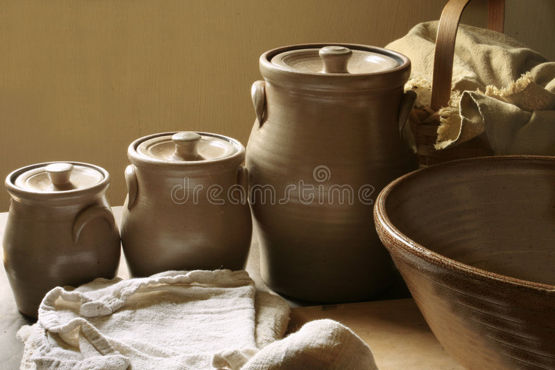 Vintage Ceramic Canisters royalty free stock photography