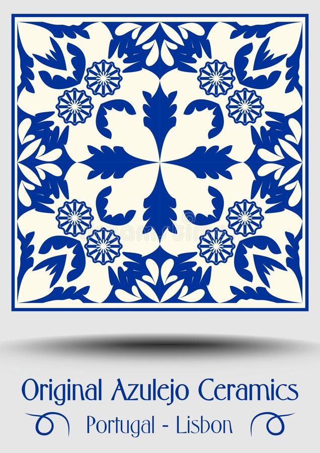 Vintage ceramic tile in azulejo design with blue patterns on white background. Traditional Spain and Portugal pottery, vector EPS 10 stock illustration