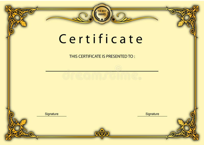 Vintage Certificate Award  Diploma Template Stock Illustration