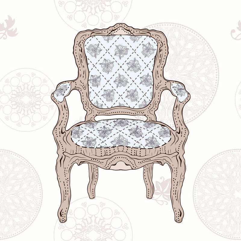 Vintage chair and radial pattern vector illustration
