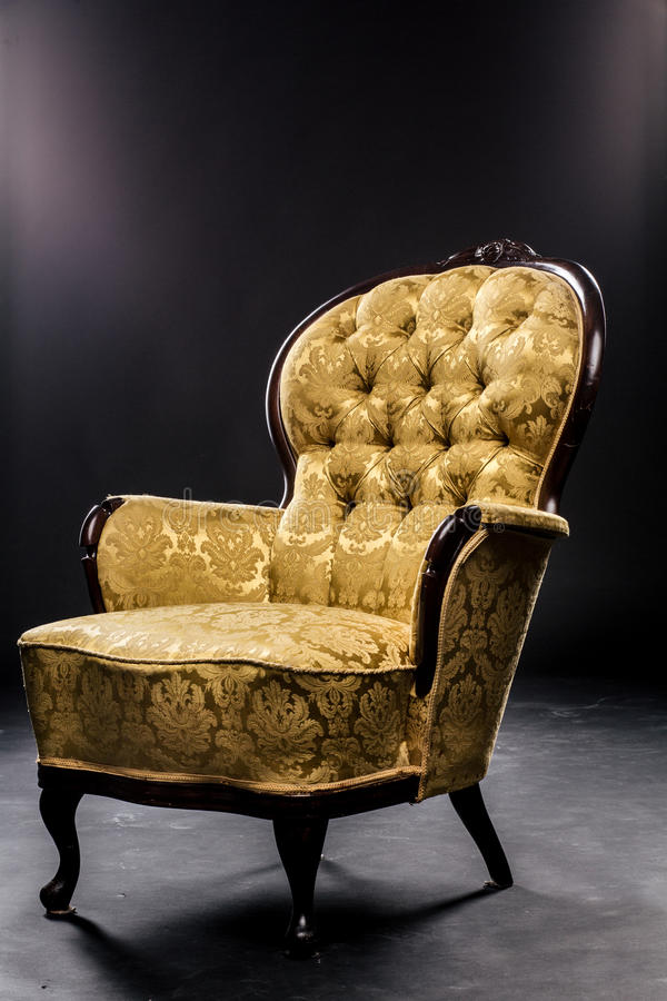 Download Vintage Chair On Short Legs Mustard Color Beautiful Material,  Texture, Wood. Studio
