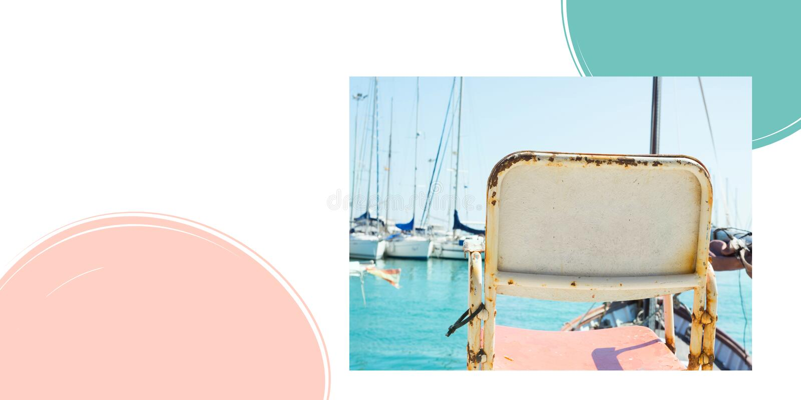 Vintage chair standing at sea harbor overlooking marina with moored yachts sailing boats. Creative poster with graphic elements. Vintage chair standing at sea stock photography
