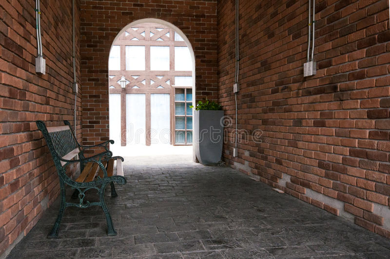 Vintage chair style. With brick wall royalty free stock image