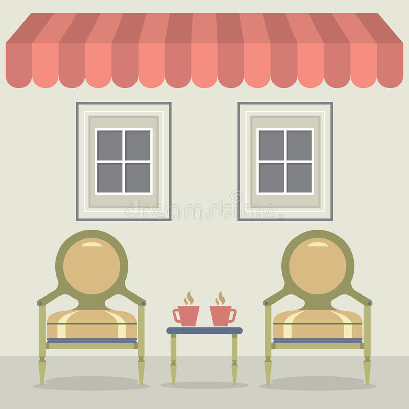 Vintage Chairs Set With Coffee Under Awning And Windows