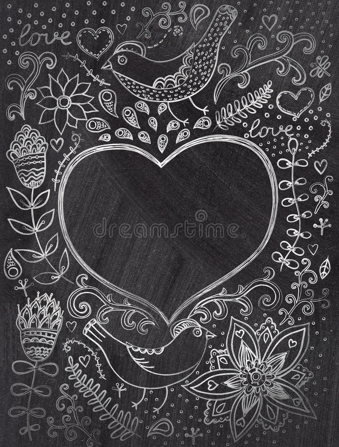 Vintage chalk background with floral ornament and heart in the m royalty free illustration