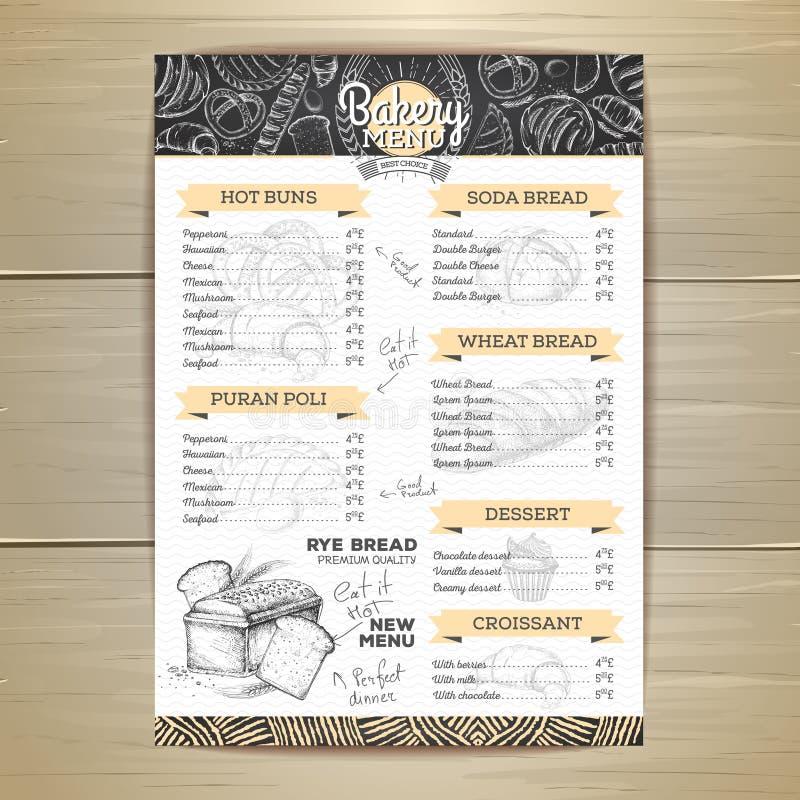 Vintage chalk drawing bakery menu design. Restaurant menu. Document template vector illustration
