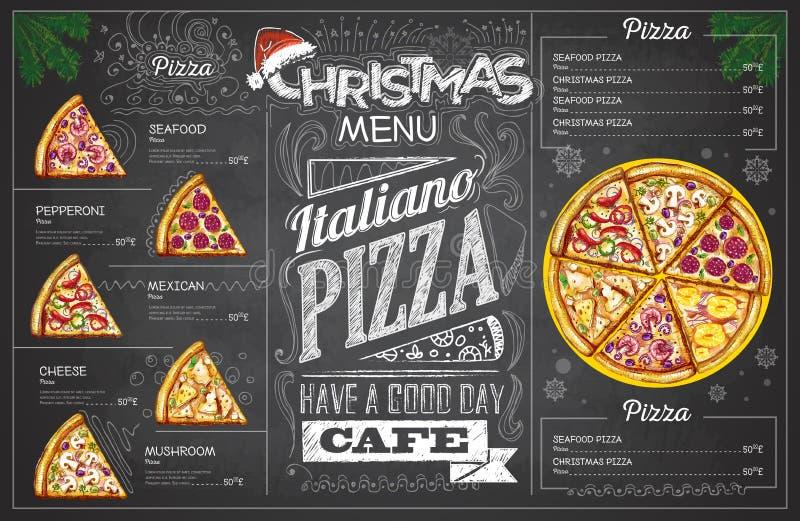 Vintage chalk drawing christmas pizza menu design. Restaurant me stock illustration