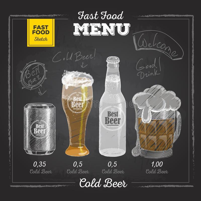 Vintage chalk drawing fast food menu. Cold beer. Sketch royalty free illustration