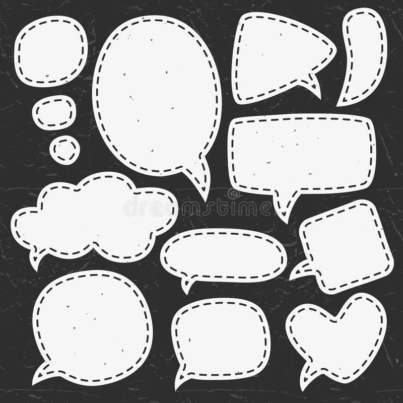 Vintage chalk speech bubbles. Different sizes and forms. stock illustration