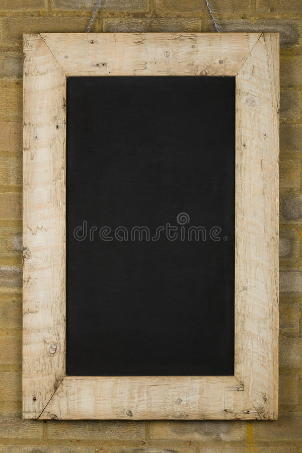Vintage Chalkboard Reclaimed Wood Frame On Brick Wall Stock Image ...