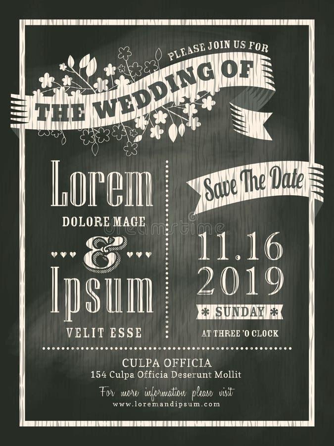 Vintage chalkboard Wedding Invitation card background royalty free illustration