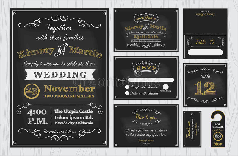 Vintage chalkboard wedding invitations design sets include download vintage chalkboard wedding invitations design sets include invitation card stock vector illustration of blackboard stopboris Image collections