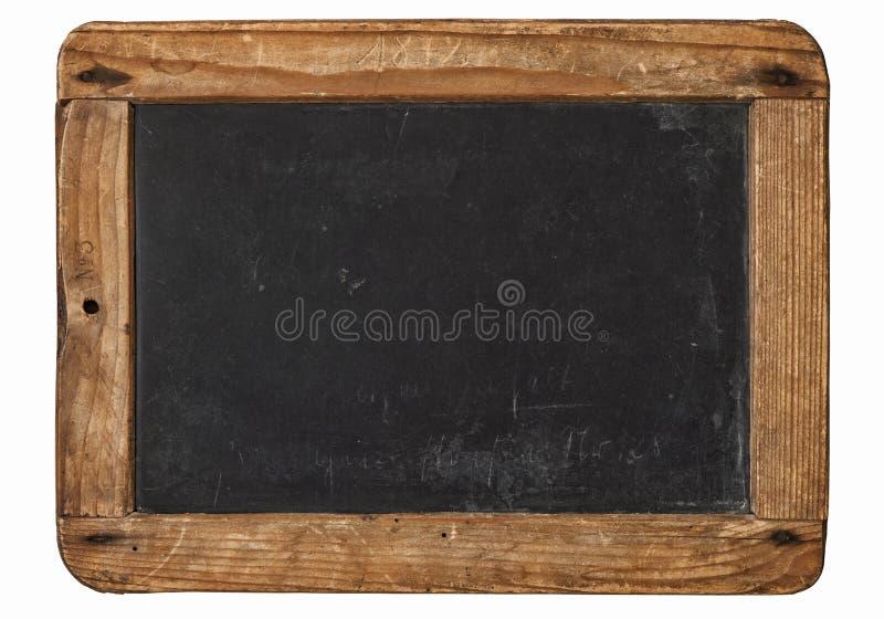 Vintage chalkboard wooden frame white background stock photography