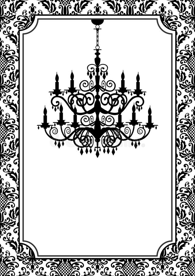 Vintage chandelier. Vintage, antique picture frame with baroque chandelier black silhouette, full scalable graphic, change the colors as you like stock illustration