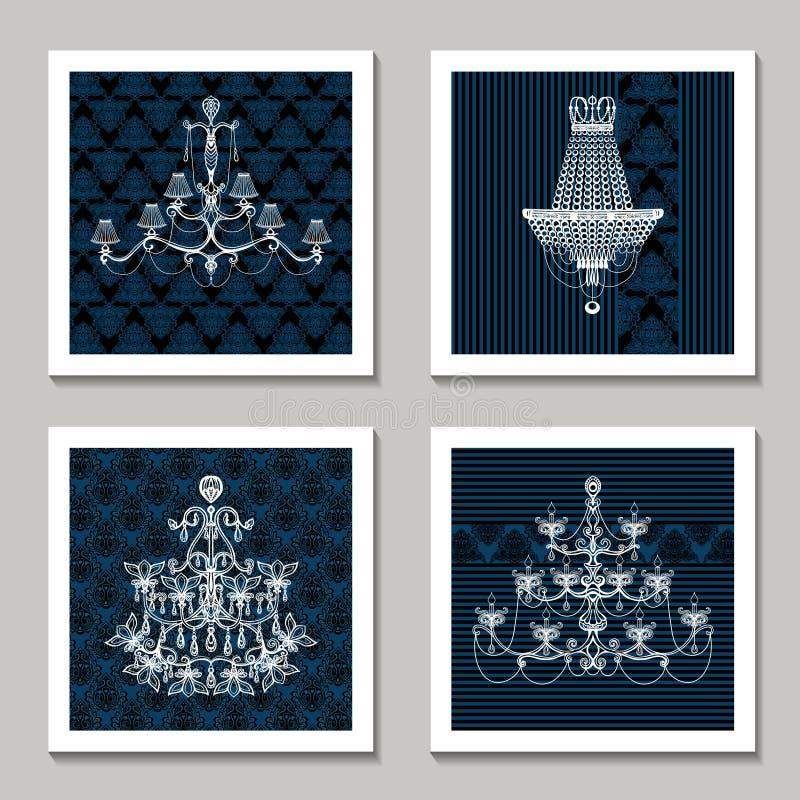 Vintage Chandelier Cards. Set with vintage interior light decoration vector illustration vector illustration