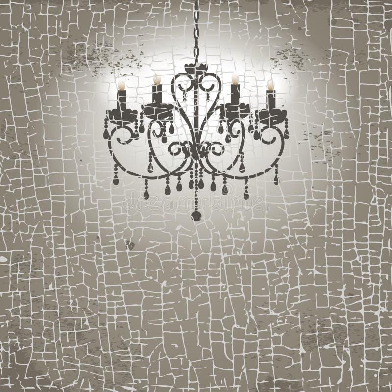 Vintage chandelier. Grunge background with vintage chandelier. Vector illustration stock illustration