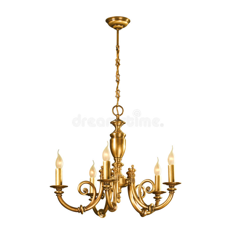 Vintage chandelier isolated on white royalty free stock photos