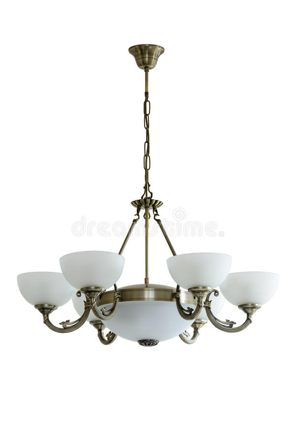 Vintage chandelier with white glass shades. royalty free stock images