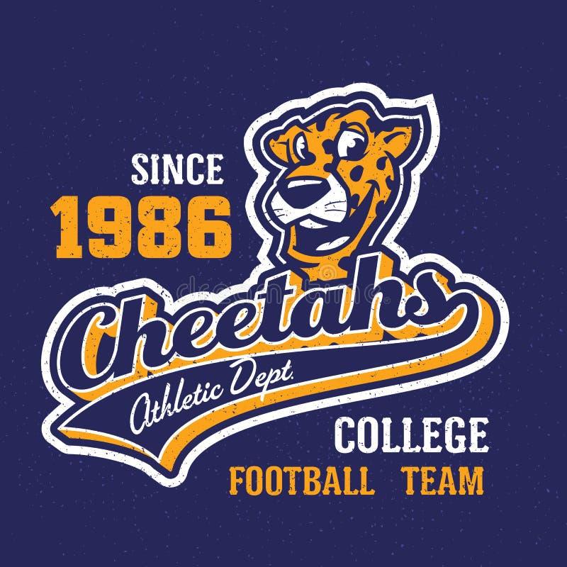 Vintage cheetahs apparel design royalty free illustration