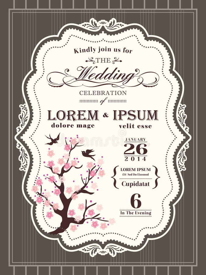 Free Vintage Cherry Blossom Wedding Invitation Border And Frame Stock Photos - 48616033