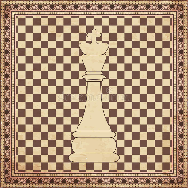 Vintage chess king background stock illustration