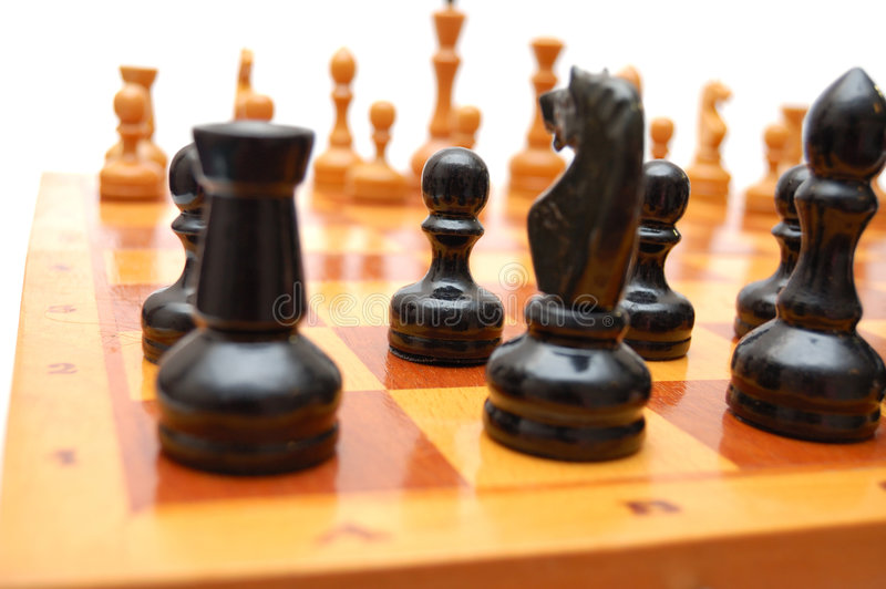 Download Vintage Chessmen On Chess Board Stock Photo - Image of black, concept: 6888484