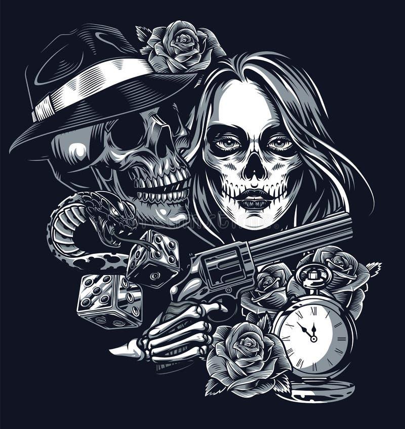Skull Dice Stock Illustrations