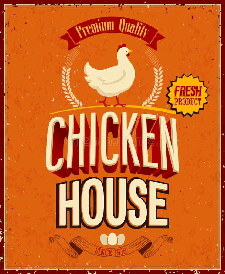 Vintage Chicken House Poster. . stock illustration