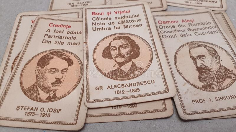 Vintage children playing cards romanian great writers. Romania schooltime fun education royalty free stock images