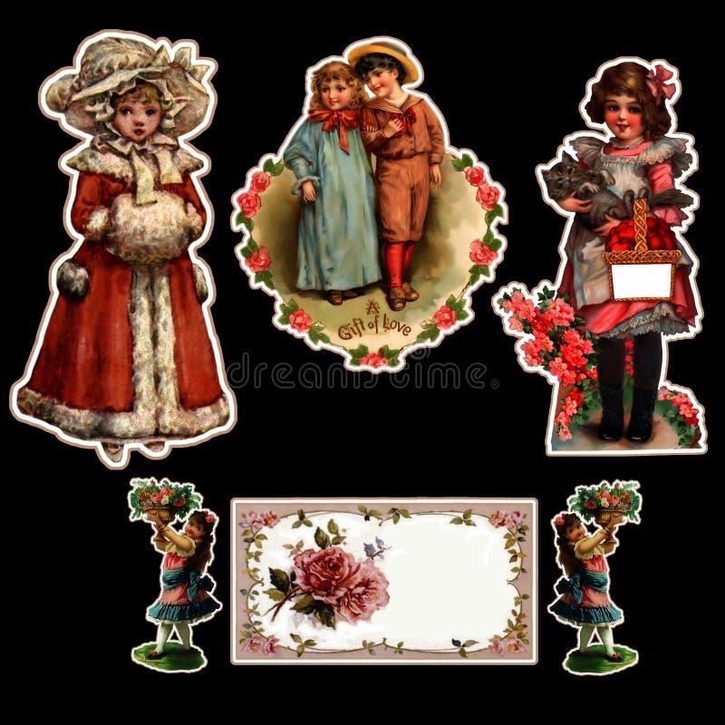 Vintage-Children-Stickers stock photos