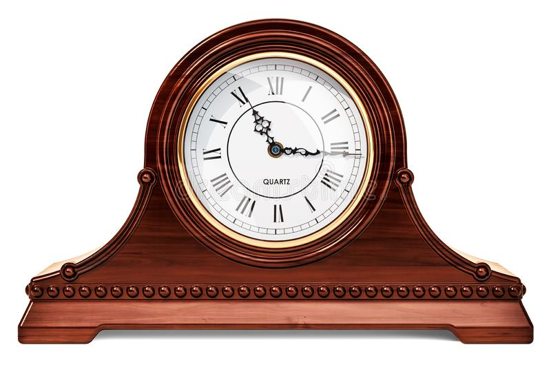 Vintage chimes mantle clock, shelf clock. 3D rendering. Isolated on white background stock illustration