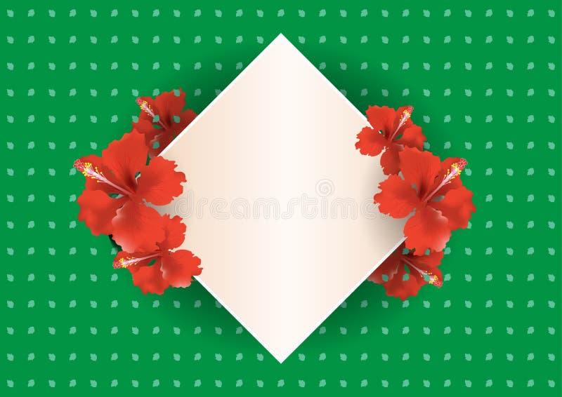 Vintage China Rose card background - Vector Illustration royalty free illustration