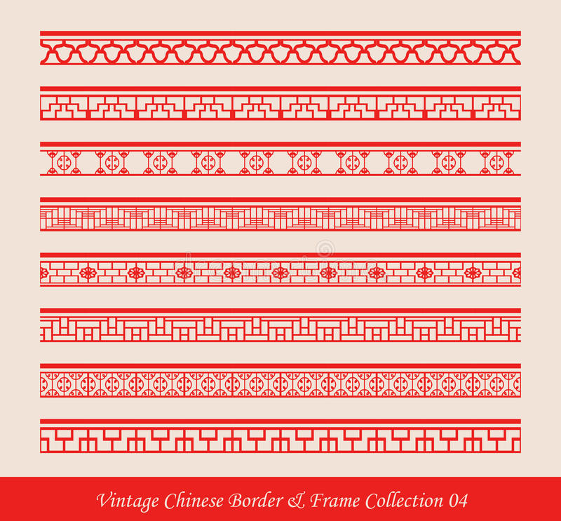 Vintage Chinese Border Frame Vector Collection 04 stock illustration