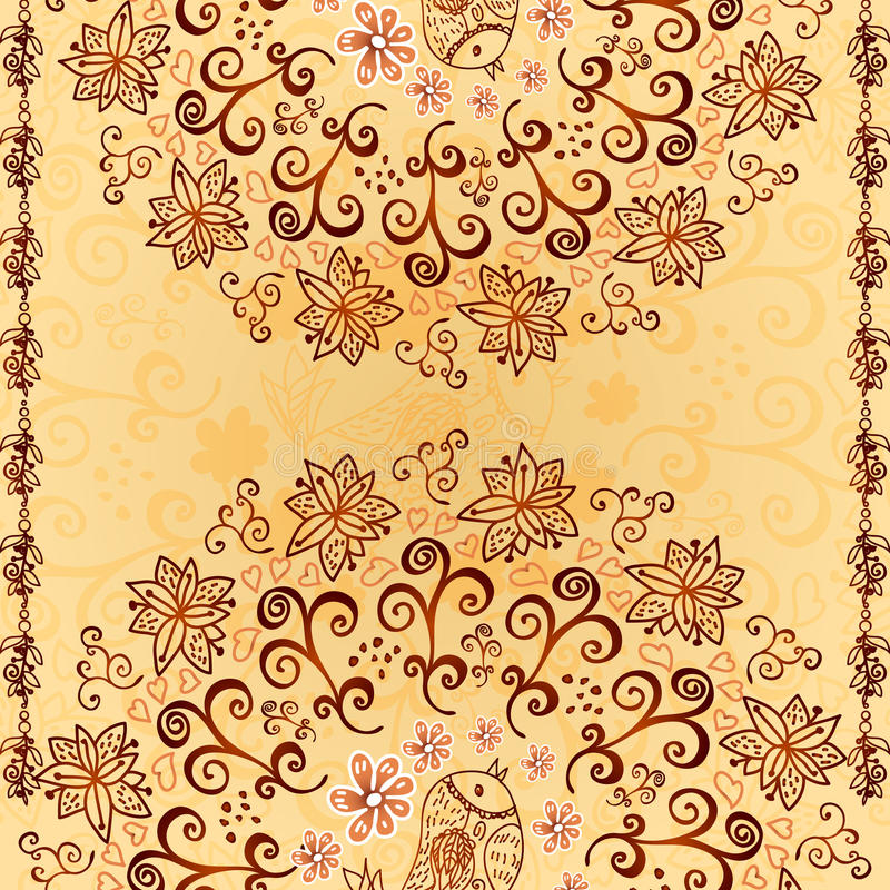 Vintage Chocolate And Cream Ornament Background Royalty Free Stock Photos