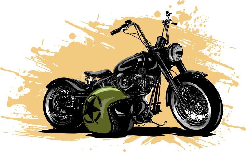 Vintage Chopper Motorcycle Poster da ilustração do vetor com helme ilustração do vetor