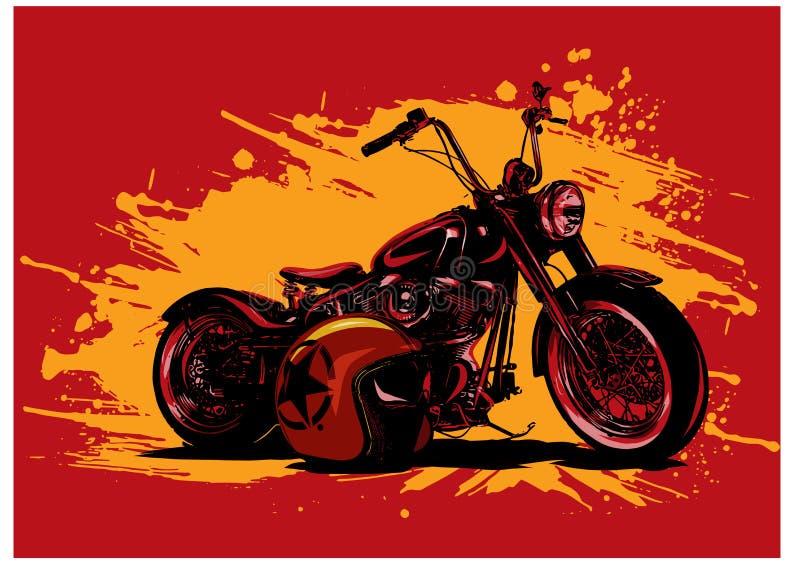 Vintage Chopper Motorcycle Poster del ejemplo del vector con el helme libre illustration