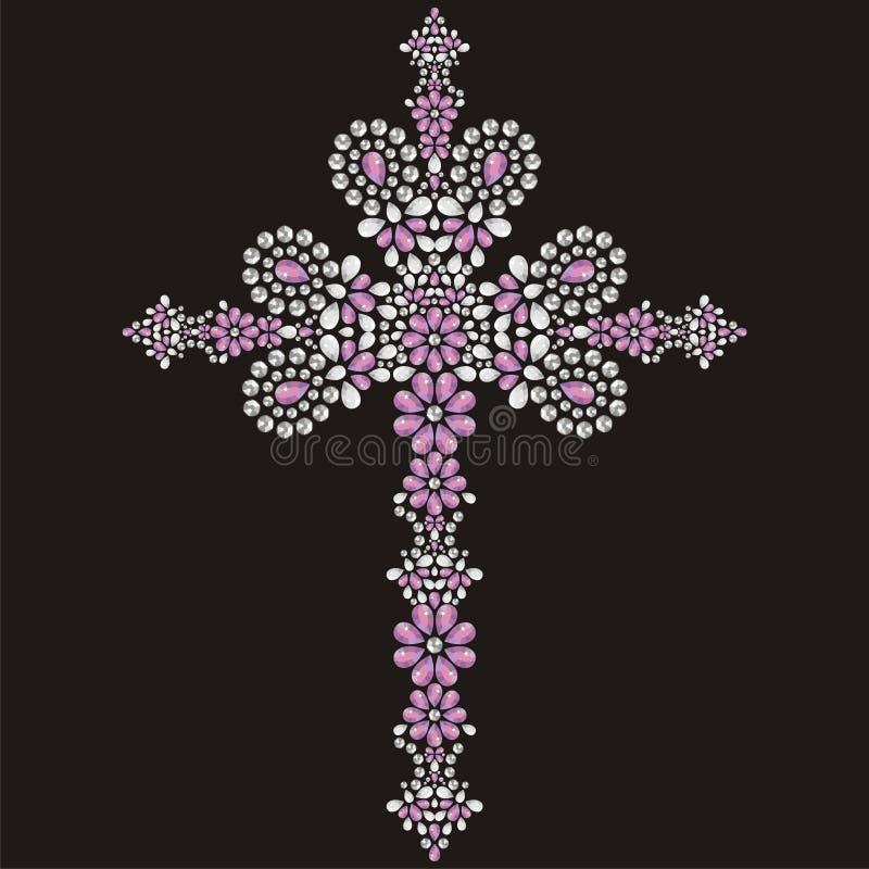 Vintage Christian Cross adornado hermoso de piedras, de la plata y del rosa brillantes stock de ilustración