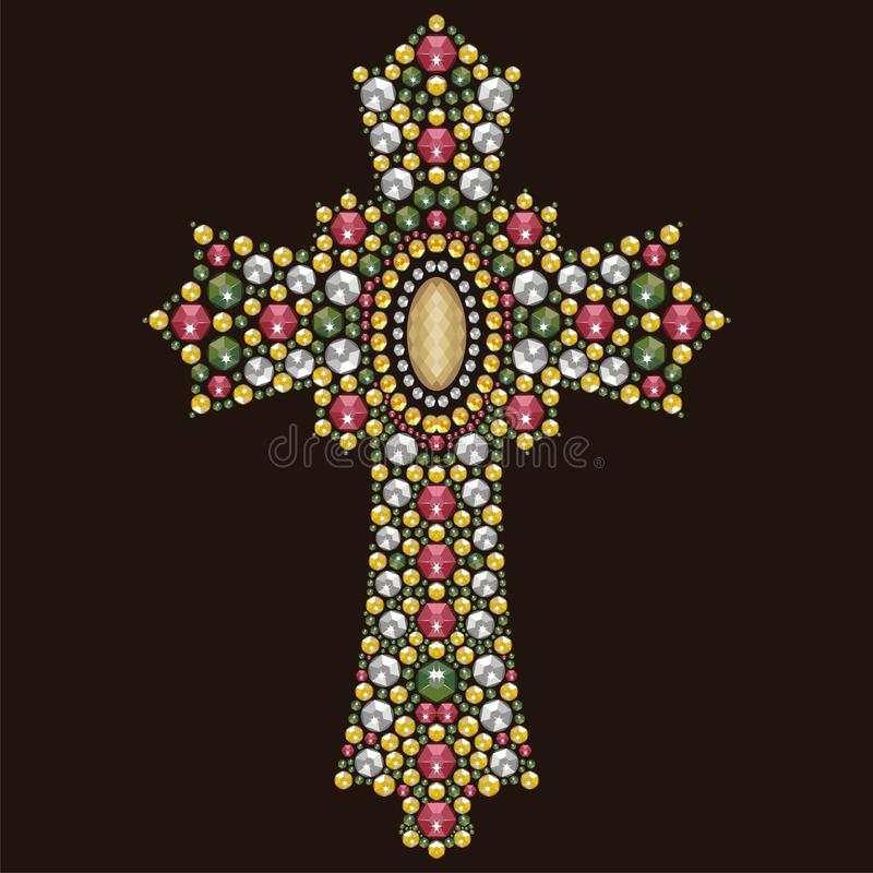 Vintage Christian Cross ornamentado bonito das pedras brilhantes, applique do cristal de rocha ilustração royalty free