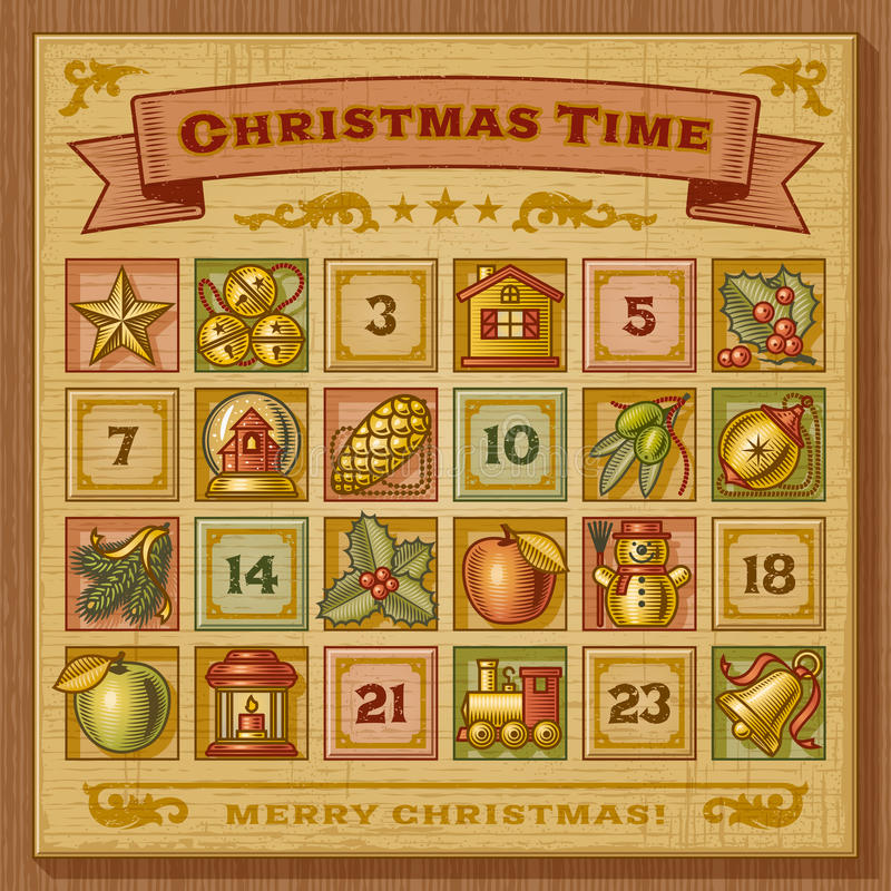 Free Vintage Christmas Advent Calendar Royalty Free Stock Image - 27618856