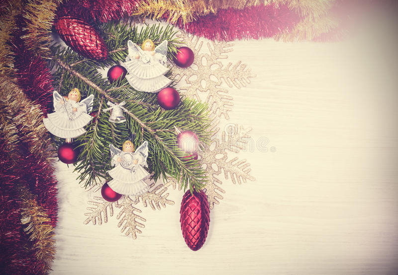 Vintage Christmas background with angels, decoration on a wooden. Board royalty free stock photos