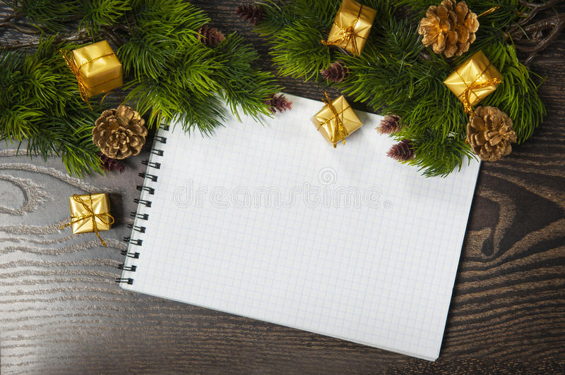 Vintage christmas background with blank white card royalty free stock photo
