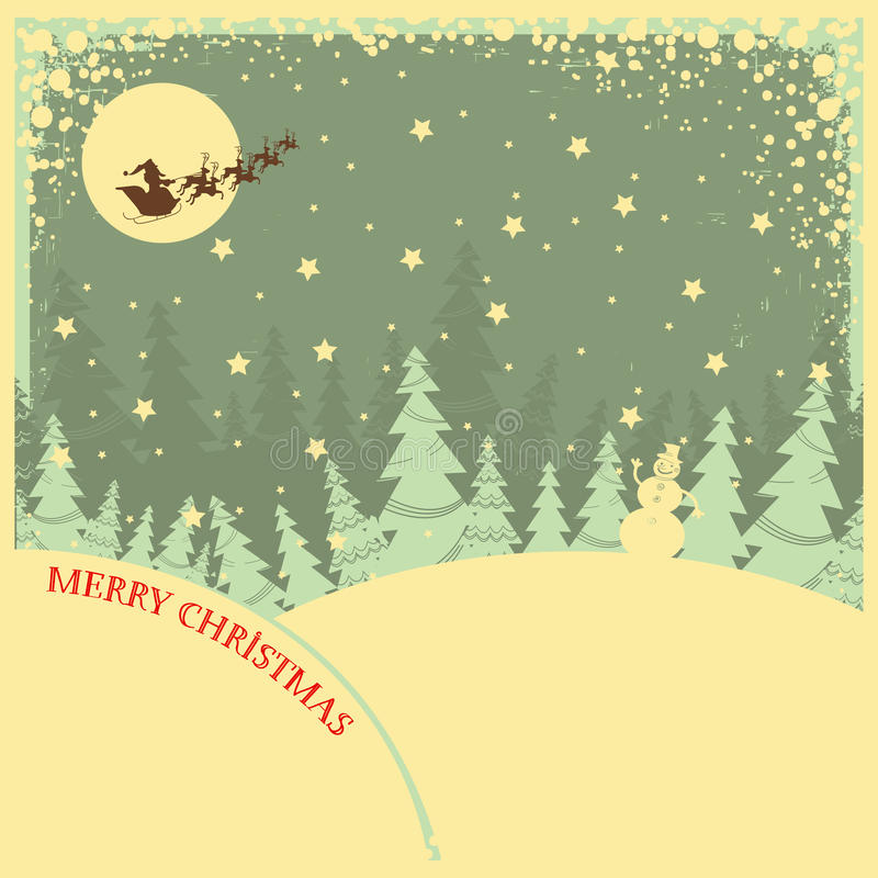 Vintage Christmas Background With Text On Night La Stock