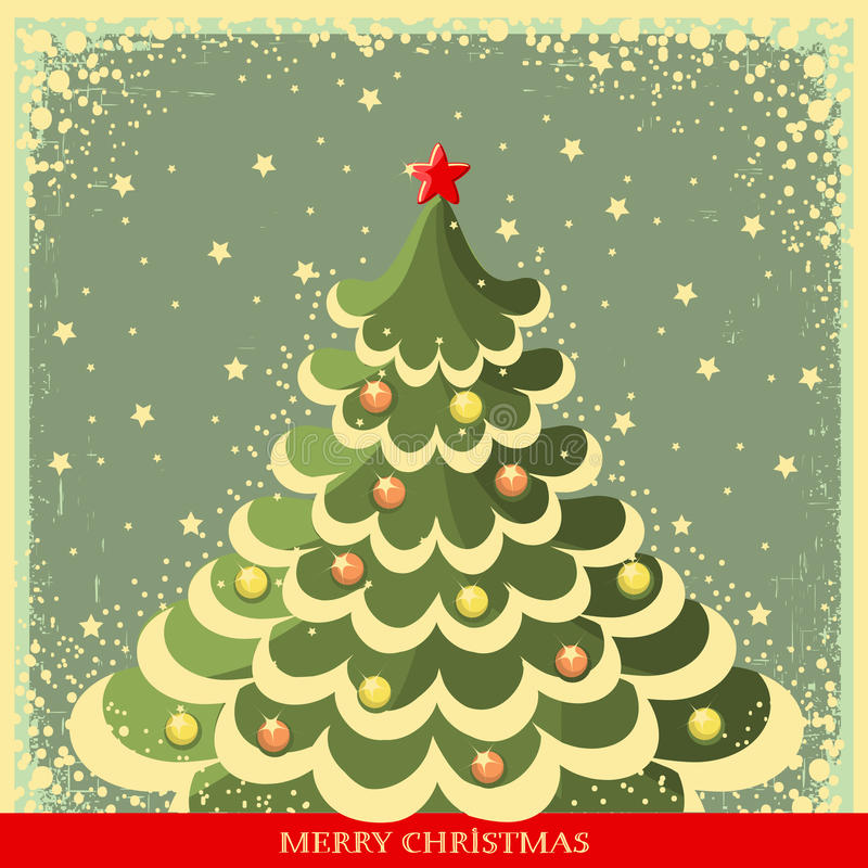 Download Vintage Christmas Background With Tree Stock Vector