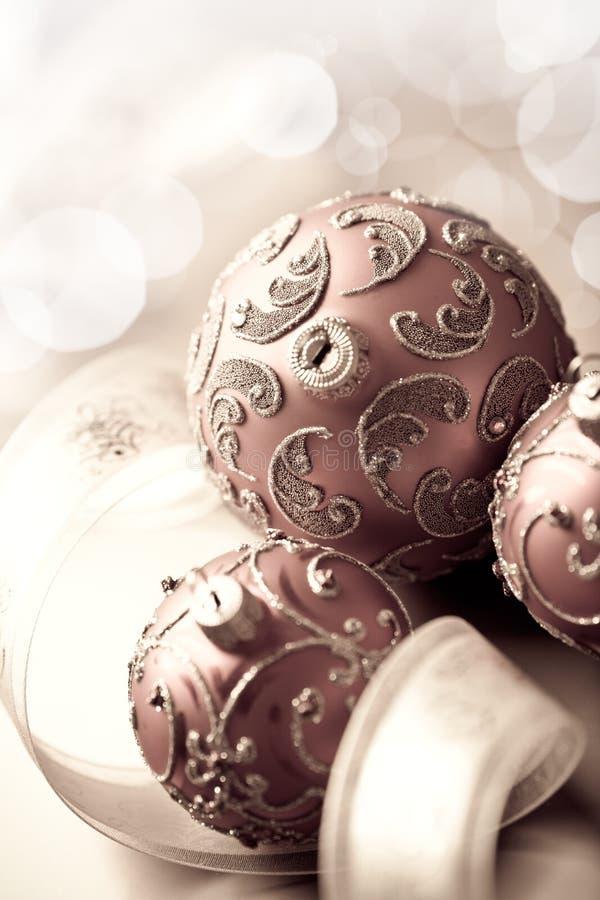 Vintage christmas balls and gift ribbon stock photography