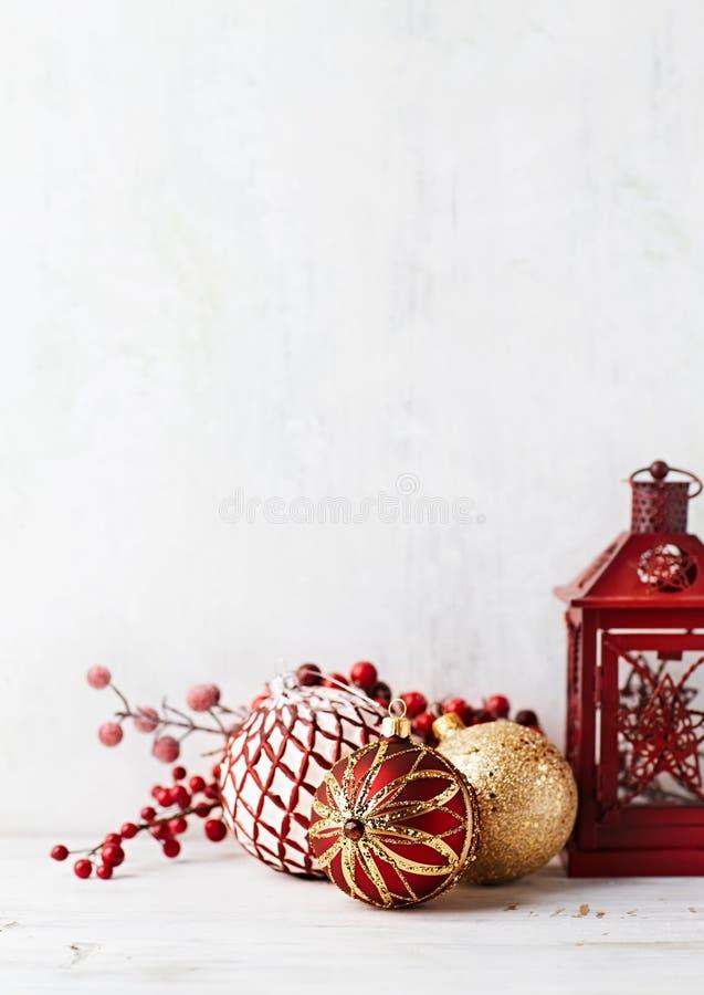 Vintage Christmas balls and a lantern royalty free stock photography