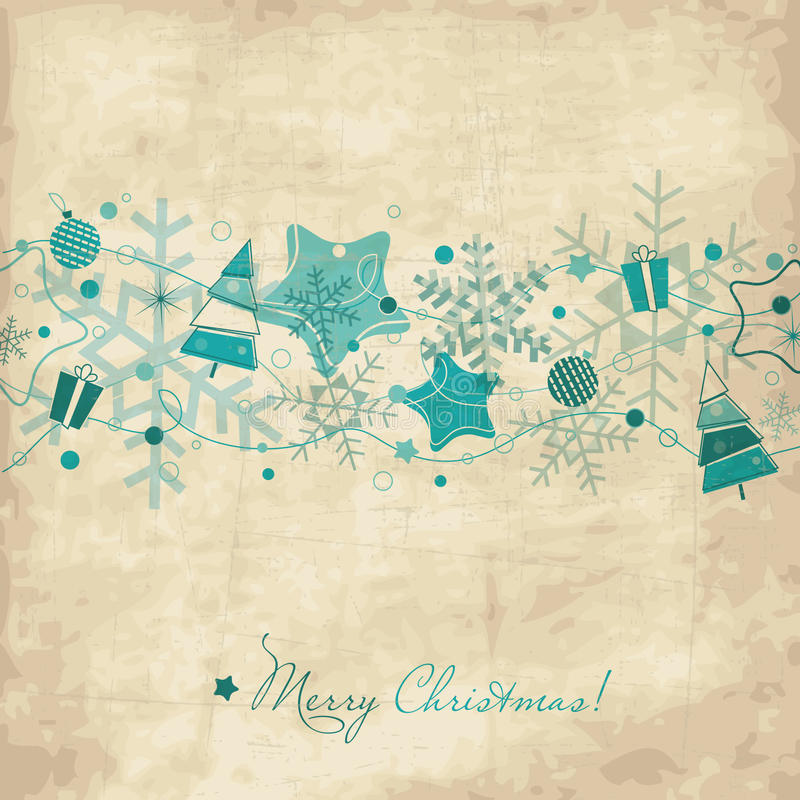 Download Vintage Christmas card stock vector. Image of snow, drawing - 20855634