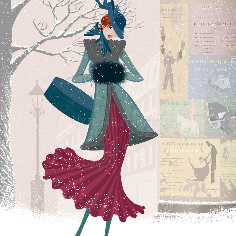 Vintage christmas card. Vector illustration of elegantly dressed woman with box walking down the street in blizzard
