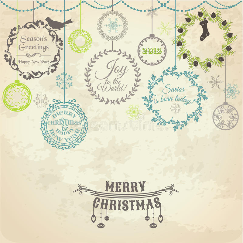 Free Vintage Christmas Card Royalty Free Stock Photography - 29314347